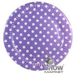 """Paper Plate """"Dots"""" Purple (6 pcs.)"""