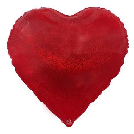 """Foil Heart, Red Glitter 18"""" (45cm.)"""
